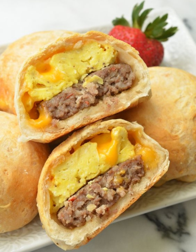 biscuits stuffed with sausage and egg