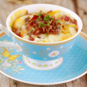 cheddar and bacon muffin in a cup