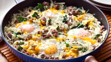 spinach and hashbrowns skillet